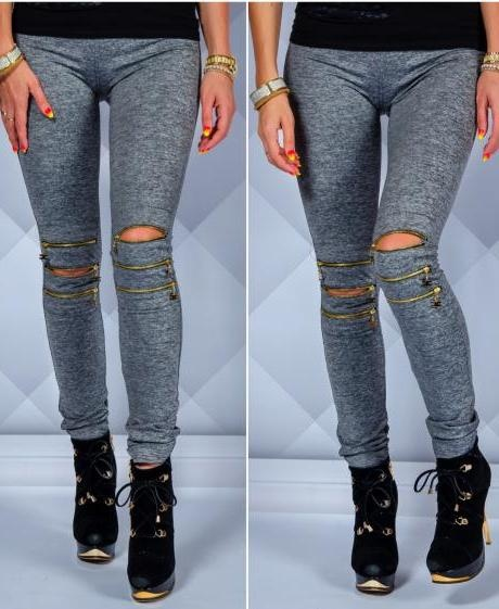 Szare legginsy zipki