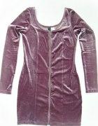 Welurowa fioletowa sukienka ZAMEK ZIP H&M 40 42