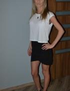 wysoki stan spodnica mini bluzka biala szeroka...