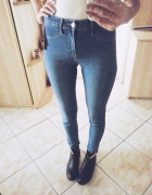 jeansy rurki spodnie H&M wysoki stan vintage retro