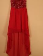 Sukienka asymetryczna długa cekiny