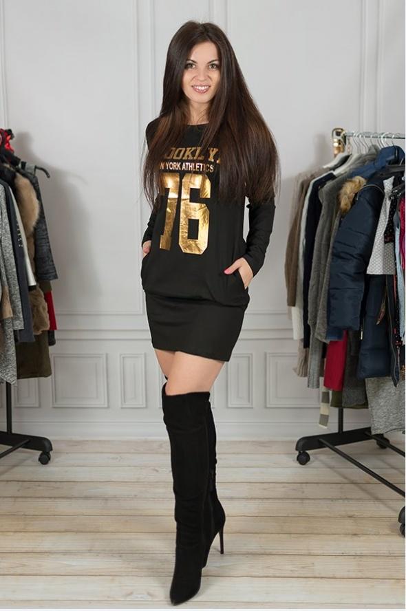 Codzienne Sportowa sukienka sexy złote napisy