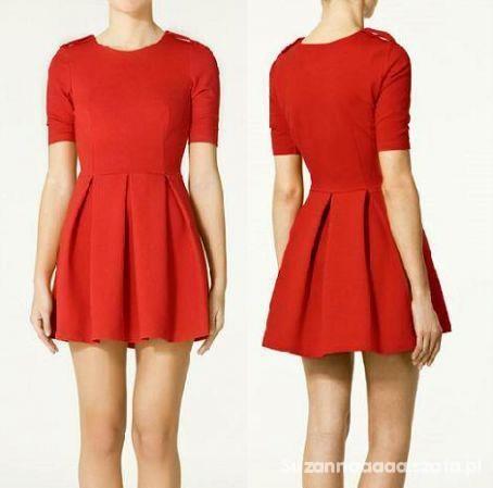 sukienka zara rozkloszowana czerwona badz czarna