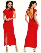 Długa czerwona sukienka...