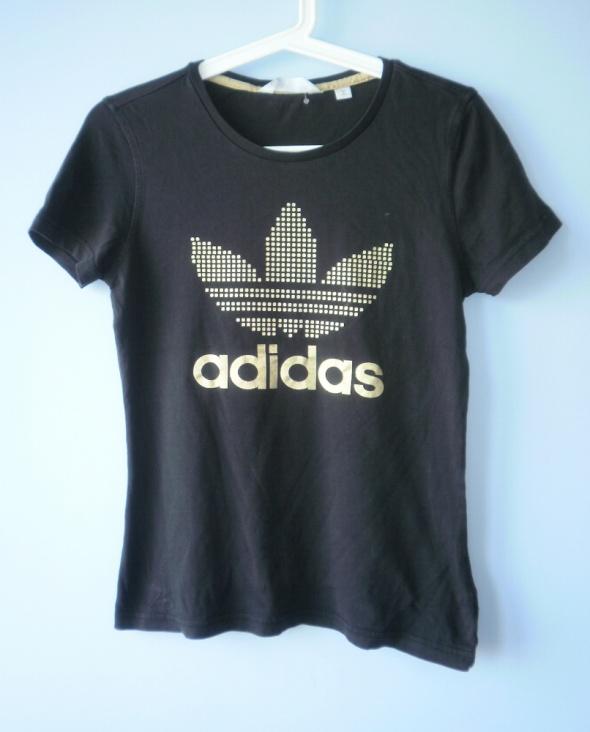 adidas originals złoty napis koszulka biała