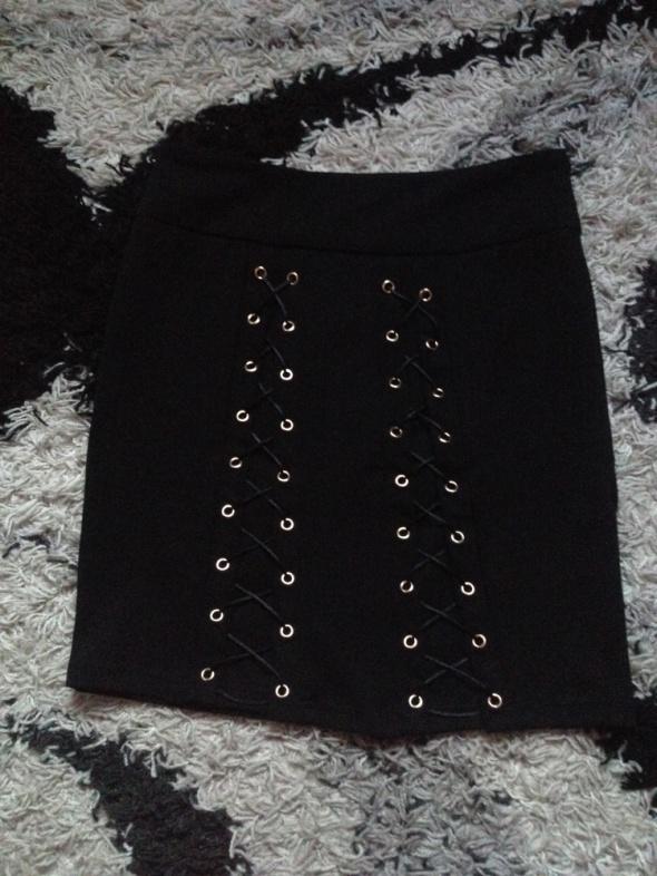 Spódnice Czarna Mini Sznurowana Wiązana Sexy