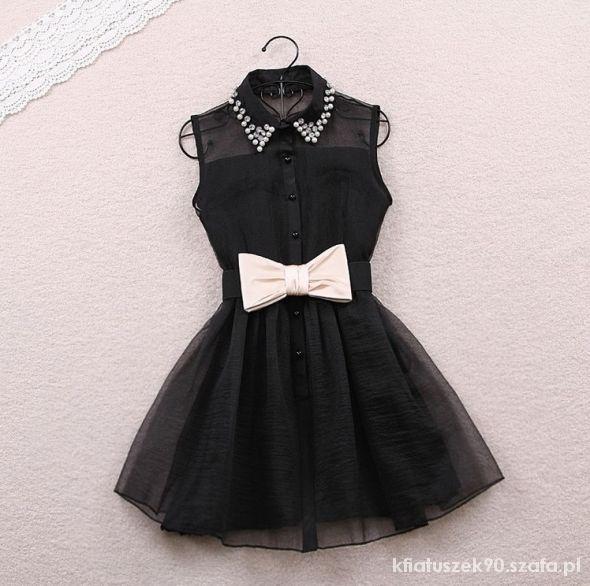 7f1e35cef7 sukienka czarna z kokardą w Suknie i sukienki - Szafa.pl