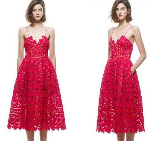 Eleganckie super sukienka czerwona koronkowa unikat do kostki
