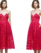 super sukienka czerwona koronkowa unikat do kostki...