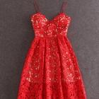 super sukienka czerwona koronkowa unikat do kostki