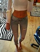 spodnie rurki xs xxs h&m mega rurki dziury