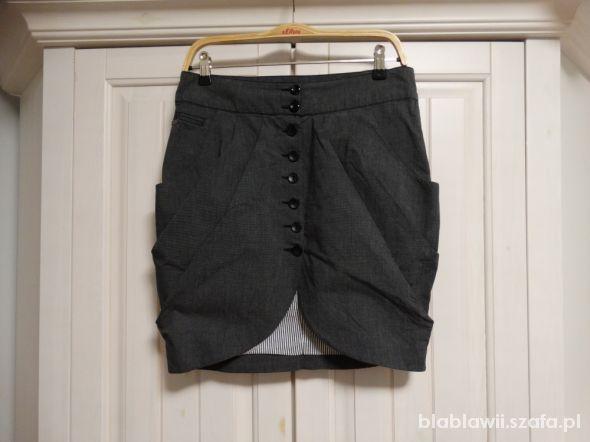 Spódnice Spódnica tulipan szara paski Bombka ONLY