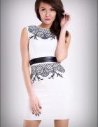 jokastyl Efektowna sukienka z haftem S M L biała