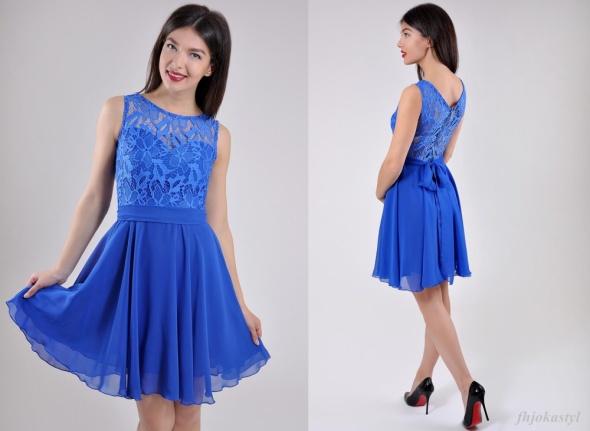 e88f523d36 Suknie i sukienki Rozkloszowana chabrowa sukienka M 38 koronka ażur