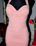 Sukienka brzoskwiniowa bandazowa