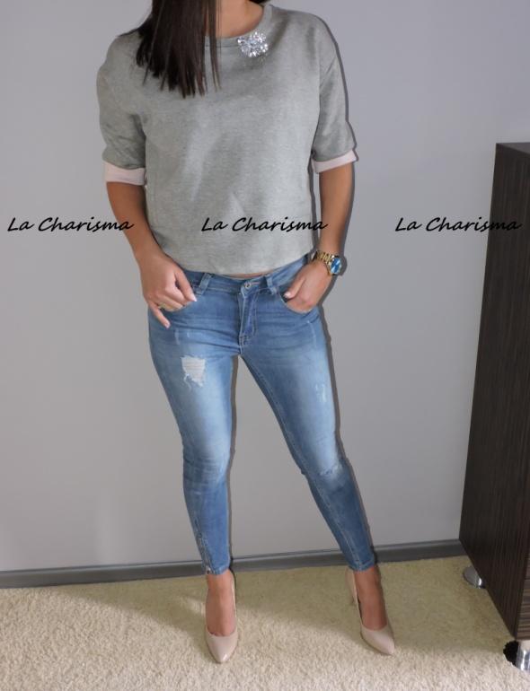 Codzienne Elastyczne jeansy z zipami i przetarciami