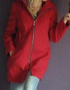 Czerwony płaszcz z zamkiem flausz