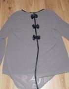 bluzeczka ze skórzanymi wstawkami i kokardkami