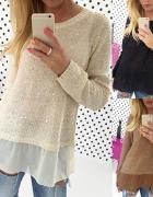 Połyskujący sweterek z tiulem