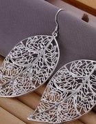 Kolczyki srebrne ażurowe liście 925 bigle
