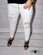 Spodnie białe rurki jeansy z dziurami S M dżinsy