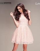 Sukienka koronka LOU pudrowy róż