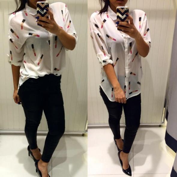 Mój styl koszulowe eleganckie bluzki szminki panterka biel