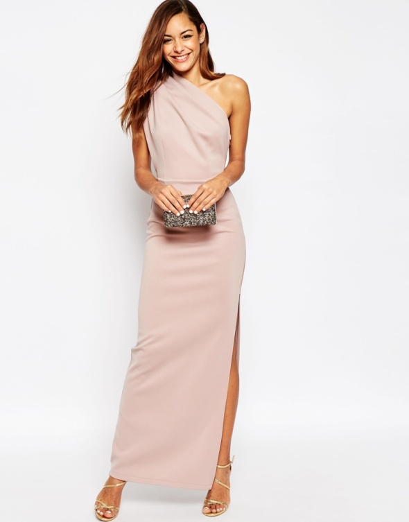 Ubrania ASOS One Shoulder Maxi Dress With Exposed Zip