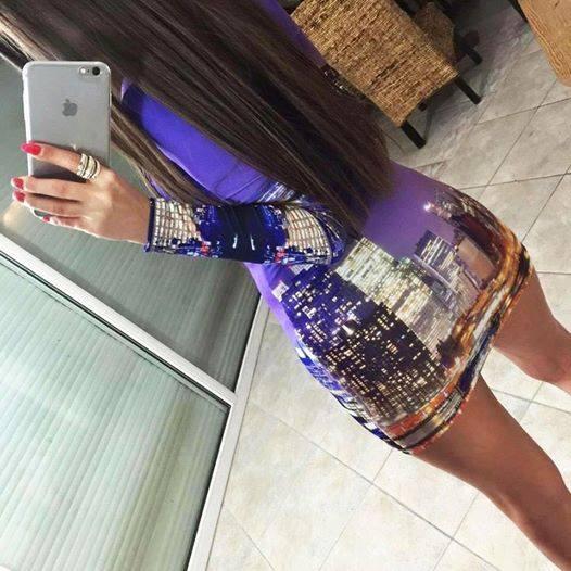 Imprezowe Xstrit city print sukienka