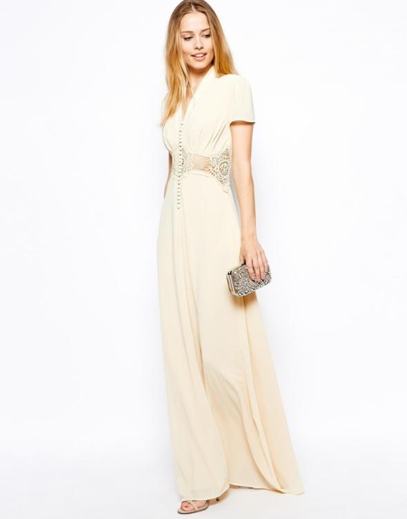 ASOS maxi nude kremowa sukienka zdobiona wesele w Suknie i