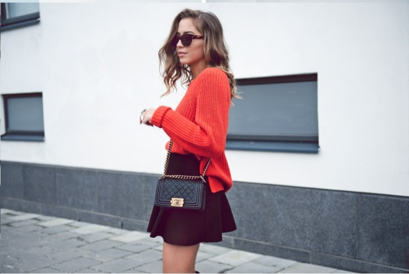 Spódnice czarna spódnica z falbanką Orsay