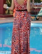 H&M nowa maxi sukienka asymetryczna panterka zara