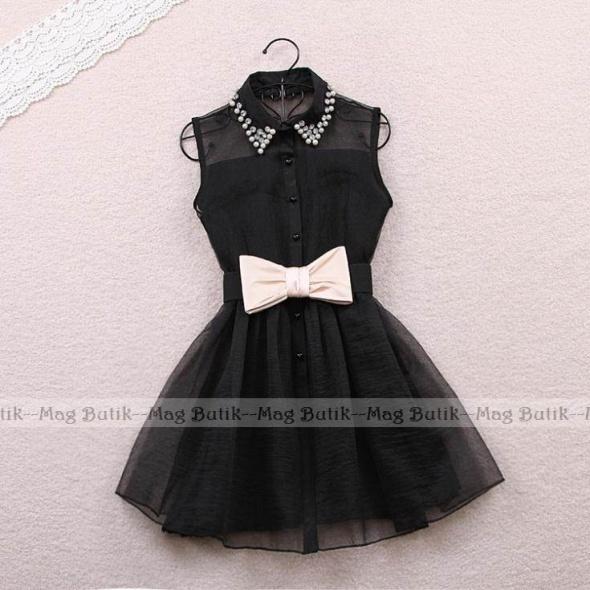 Śliczna czarna sukienka szyfon kołnierzyk kokarda