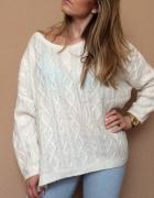 Sweter oversize kremowy H&M...