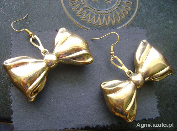 Duże kolczyki złote kokardy