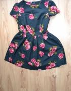 Sukienka kwiaty M rozkloszowana