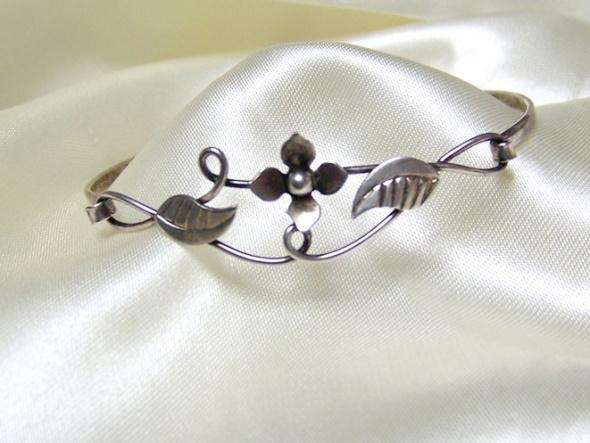 Bransoletka srebrna floral