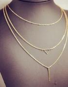 złoty naszyjnik 3 łańcuszki