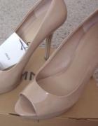 Piękne szpilki nude open toe MANGO 37 ZARA H&M...