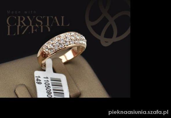 18kt efektowna obrączka pierścionek z cyrkoniami