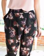 987 Kopertowe spodnie kwiaty black L