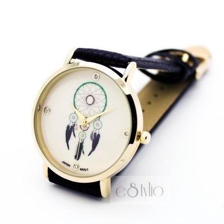 Zegarek na skórzanym pasku czarny łapacz snów