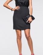 48 4XL Wizytowa sukienka czarna cekiny