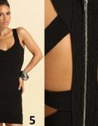 sukienka mini bandażowa wycięcia na plecach czarna XL