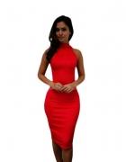 Sukienka czerwona midi półgolfik...