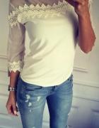 Biała bluzka gipiura z siateczką S