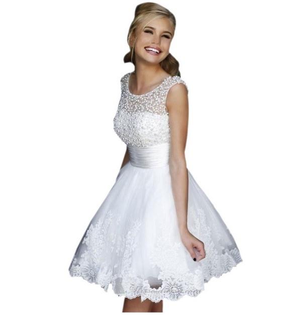 d38956e628 Krótka suknia Ślubna biała z perełkami S M w Suknie i sukienki ...