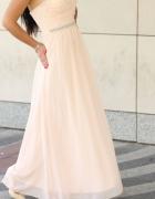Asos Śliczna długa zwiewna sukienka pudrowy róż