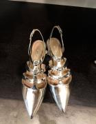 Zara sandały srebrne lustra szpice