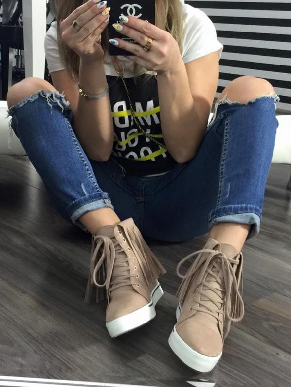 Sneakersy frędzle BEŻ 36 37 38 39 40 41